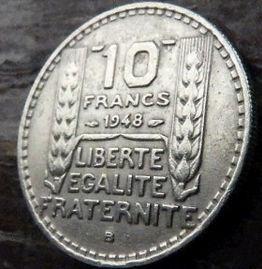 10 Франков, 1948 года, Франция,Монета, Монеты, 10 Francs 1948,RepubliqueFrancaise, France, Spikelets, Колоски на монете, Girl, Девушкана монете.