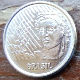 5 Сентаво,1994 года, Бразилия, Монета, Монеты, 5 Centavos 1994, Brasil,Обличчя людини,Human face,Лицо человека на монете.