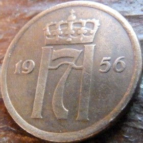 2 Эре, 1956 года, Норвегия, Монета, Монеты, 2 Ore 1956, Norge,Crown,Корона,Monogram, ВензельКороляГокона VII на монете.