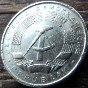 1 Пфенниг,1960 года, ГДР, Германия, Німеччина,Монета, Монеты, 1 Pfennig 1960,DDR,Spikelets, Колоски,Hammer, Молоток на монете.