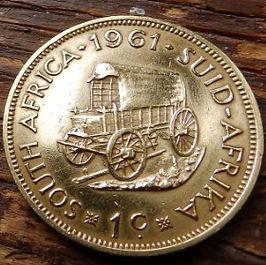 1 Цент, 1961 года, ЮАР,Монета, Монеты, 1 Cent 1961,South Africa,Кінний віз,Horse carriage, Конная повозка на монете, Jan van Riebeeck, Ян ван Рибекна монете.