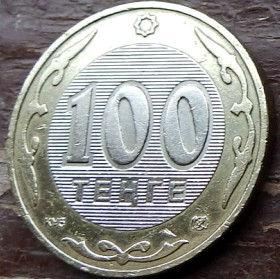 100 Тенге, 2002 года,Казахстан, Монета, Монеты, 100 Tenge 2002, Republicof Kazakhstan,Ornament, Орнаментна монете,Emblem of Kazakhstan,Герб Казахстана на монете.