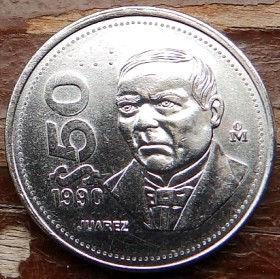 50 Песо, 1990 года,Мексика, Монета, Монеты, 50Pesos 1990,Estados Unidos Mexicanos,Benito Juarez,Бенито Хуарес на монете,Coat of arms of Mexico, Герб Мексикина монете.