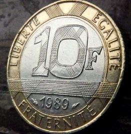 10 Франков, 1989 года, Франция,Монета, Монеты, 10 Francs1989,RepubliqueFrancaise, France, Human figure with wings,Фигура человека с крыльямина монете.