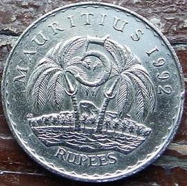 5 Рупий, 1992 года, Маврикий,Монета, Монеты, 5 Five Rupees 1992, Mauritius,Тропічний пейзаж, Пальма,Tropical landscape, Palm tree,Тропический пейзаж, Пальма на монете,Seewoosagur Ramgoolam, Сивусагур Рамгуламна монете.