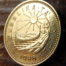 1 Цент, 1986 года, Мальта, Монета, Монеты, 1 Cent 1986, Malta,Fauna, Фауна, Ermine,Горностайна монете,Sea, Море,Човен,Boat,Лодка, Sun,Cолнцена монете.