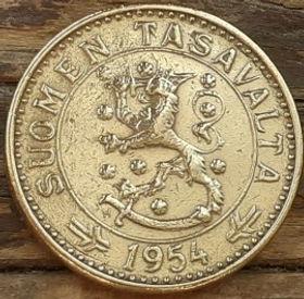20 Марок, 1954 года, Финляндия, Монета, Монеты, 20 Markkaa 1954,Suomen Tasavalta, Suomi, Finland,Tree, Дерево на монете,Coat of Arms,Герб,Fauna, Фауна, Lion with sword, Лев с мечом на монете.