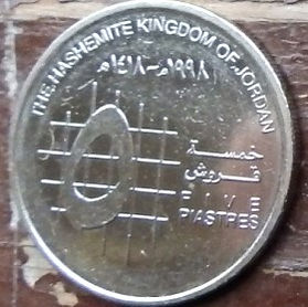 5 Пиастров, 1998 года, Иордания, Монета, Монеты, 5 Five Piastres 1998, The Hashemite Kingdom of Jordan, Hussein bin Talal, Хусейн ибн Талал на монете.