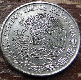 50 Сентаво, 1971 года, Мексика, Монета, Монеты, 50 Cincuenta Centavos 1971, Estados Unidos Mexicanos, Вождь ацтеків Куаутемок, The leader of the Aztecs Kuautemok, Вождь ацтеков Куаутемок на монете, Coat of arms of Mexico, Герб Мексики на монете.