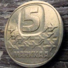 5 Марок, 1984 года, Финляндия, Монета, Монеты, 5 Markkaa1984, SuomenTasavalta, Suomi, Finland, Криголам, Icebreaker, Ледокол на монете.