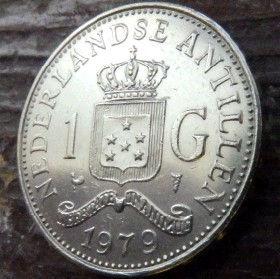 1 Гульден, 1979 года, Нидерландские Антильские острова, Монета, Монеты, 1 Gulden 1979, Nederlandse Antillen,Корона, Crown, Coat of arms of the Netherlands Antilles,Герб Нидерландских Антильских острововна монете,КоролеваJuliana,Юлианана монете.