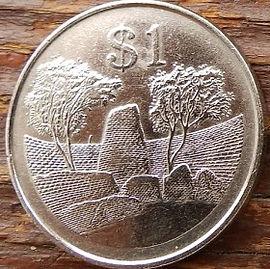 1 Доллар, 1980года, Зимбабве,Монета, Монеты, 1 Dollar 1980, Zimbabwe,Great Zimbabwe,Большое Зимбабвена монете, Bird of Zimbabwe,Птица Зимбабвена монете.