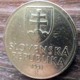 10 Крон, 1993года,Словакия,Монета, Монеты,10 Krones 1993, Slovenska Republika,Holy Trinity Cross, Крест Святой Троицына монете, Coat of Arms, Гербна монете.