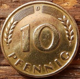 10 Пфеннигов,1949года, ФРГ, Германия, Німеччина,Монета, Монеты, 10 Pfennig 1949, BANK DEUTSCHER LÄNDER,Spikelets, Колоскина монете,Дубовые листья на монете.