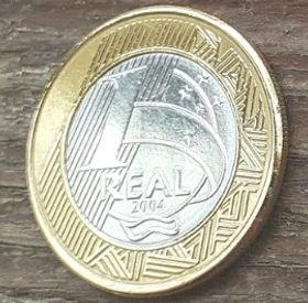 1 Реал,2004 года, Бразилия, Монета, Монеты, 1 Real 2004, Brasil,Обличчя людини,Human face,Лицо человекана монете.