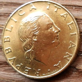 200 Лир, 1997 года, Италия, Монета, Монеты, 200 Lire1997, Italiana, Italy,Italian Maritime League,Итальянская морская лига, Ship,Корабль, Якір,Anchor, Якорьнамонете,Жінка, Woman, Женщинана монете.