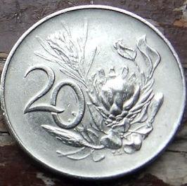 20 Центов, 1965 года, ЮАР,Монета, Монеты, 20 Cents1965,South Africa,Suid-Afrika, Flora, Flower, Protea artichoke, Флора, Цветок, Протея артишоковая на монете, Jan van Riebeeck,Ян ван Рибекна монете.
