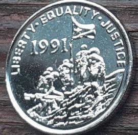 5 Центов, 1997 года, Государство Эритрея, Монета, Монеты, 5 Five Cents 1997, State of Eritrea, Fauna, Leopard, Фауна, Леопард на монете, Солдати з прапором, Soldiers with a flag, Солдаты с флагом на монете.