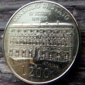 200 Лир, 1990 года, Италия, Монета, Монеты, 200 Lire1990, Italiana, Italy, Будинок Державної Ради,State Council House, Здание Государственного Советамонете,Жінка, Woman, Женщинана монете.