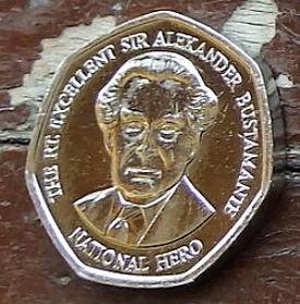 1 Доллар, 1996 года, Ямайка, Монета, Монеты, 1 One Dollar 1996, Jamaica,Coat of arms ofJamaica, Герб Ямайкина монете, Alexander Bustamante,АлександрБустамантена монете.