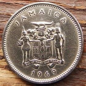5 Центов, 1969 года, Ямайка, Монета, Монеты, 5 Five Cents 1969, Jamaica,Fauna, Crocodile,Фауна, Крокодилна монете, Coat of arms ofJamaica, Герб Ямайкина монете.