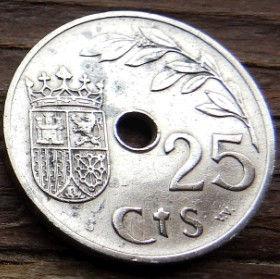 25 Сентимов, 1937 года, Испания, Монета, Монеты, 25 Centimos 1937, Espana,Spain,Гілкадерева,Tree branch,Ветвьдеревана монете,Корона, Crown, Фауна, Лев, Lion, Герб, Стріли, Arrow,Стрелына монете, Монета с отверстием посередине.