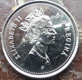 5 Центов, 2001 года,Канада, Монета, Монеты, 5 Cents 2001, Canada,Fauna, Beaver, Фауна, Боберна монете, Королева Elizabeth II, Елизавета IIна монете, Третий портрет королевы.