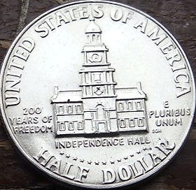 1/2 Доллара, 1976 года,Соединенные Штаты Америки, Монета, Монеты, HalfDollar1976,The United States of America,Independence Hall, Индепенденс-холлна монете, President John Fitzgerald Kennedy, Президент Джон Фицджералд Кеннедина монете.