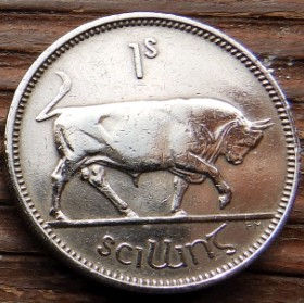 1 Шиллинг, 1951 года, Ирландия, Монета, Монеты,Ireland, 1 S, Shilling 1951, Eire, Тварина, Animal, Животное,Бик,Bull,Бык на монете,Harp,Арфа на монете.