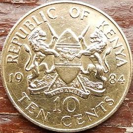10 Центов, 1984 года, Кения,Монета, Монеты, 10 Ten Cents 1984, Republic of Kenya,Coat of arms of Kenya,Герб Кении на монете, President of Kenya Daniel Toroitich Arap Moi,Президент Кении ДаниэльАрап Мои на монете.