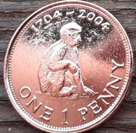 1 Пенни, 2004 года, Гибралтар, Монета, Монеты, 1 One Penny 2004, Gibraltar, Fauna, Фауна, Мавпа, Monkey, Обезьяна на монете, Королева Elizabeth II, Елизавета II на монете, Пятый портрет королевы.