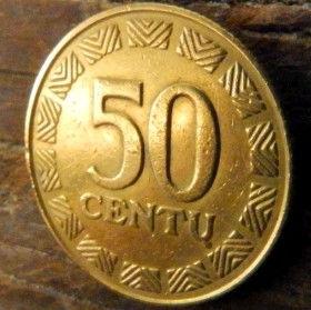 50 Центов, 1997 года, Литва, Монета, Монеты, 50 Centu1997, Lietuva, Coat of Arms,Герб,Воїн на коні,Warrior on horseback,Воин на конена монете.