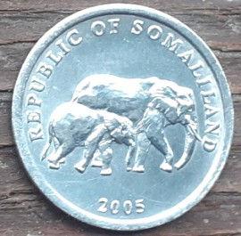 5 Шиллингов, 2005 года, Республика Сомалиленд,Монета, Монеты, 5 Five Shillings 2005,Republic of Somaliland,Fauna, Elephant,Фауна, Слонна монете.