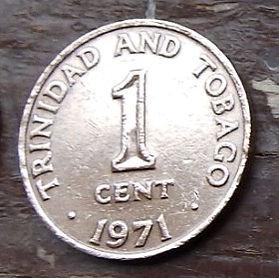 1 Цент, 1971 года, Тринидад и Тобаго, Монета, Монеты, 1 Cent1971, Trinidad and Tobago,Coat of arms ofTrinidad and Tobago, Герб Тринидада и Тобагона монете.