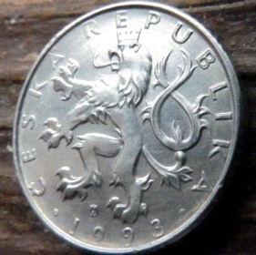 50 Геллеров, 1993 года,Чехия,Монета, Монеты,50 Hellers1993, Ceska Republika,Coat of Arms, Герб,Fauna, Фауна,Lion, Левна монете.