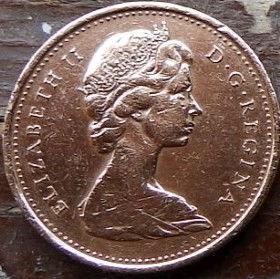 1 Цент, 1967 года,Канада, Монета, Монеты, 1 Cent 1967, Canada,Фауна, Пташка,Fauna, Bird, Фауна, Птицана монете, Королева Elizabeth II, Елизавета IIна монете, Второй портрет королевы.