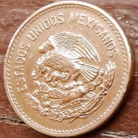 20 Сентаво, 1944 года,Мексика, Монета, Монеты, 20 Centavos 1944,Estados Unidos Mexicanos, Pre-Columbian city Teotihuacan, ДоколумбовойгородТеотиуаканна монете,Coat of arms of Mexico, Герб Мексикина монете.
