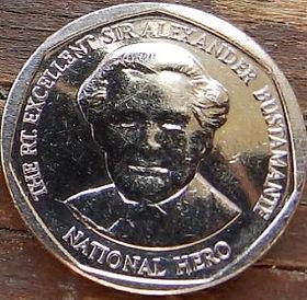 1 Доллар, 2012 года, Ямайка, Монета, Монеты, 1 One Dollar 2012, Jamaica,Coat of arms ofJamaica, Герб Ямайкина монете, Alexander Bustamante,АлександрБустамантена монете.
