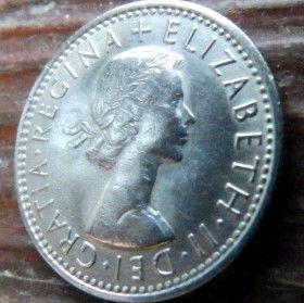 6 Пенсов, 1967 года,Великобритания, Монета, Монеты, Six Pence 1967,Рослинний орнамент,растительный орнамент,floral ornament, Королева Elizabeth II, Елизавета IIна монете, Первый портрет королевы.