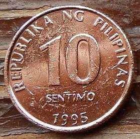 10 Сентимов, 1995 года, Филиппины,Монета, Монеты, 10 Sentimo1995, Republika ng Pilipinas,Emblem,Эмблемана монете.