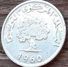 2 Миллима, 1960 года, Тунис,Монета, Монеты, 2 Millims 1960,Tunisia,Флора, Flora,Гілка оливкового дерева, Olive, Ветвь оливковогодерева на монете,Дуб корковий,Cork oak,Дуб пробковый на монете.