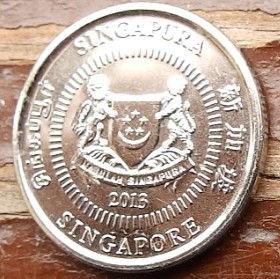 10 Центов, 2013 года, Сингапур, Монета, Монеты, 10Cents 2013, Singapore, Багатоповерховий будинок, Multi-storey building, Многоэтажный дом на монете, Coat of arms of Singapore, Герб Сингапура на монете.