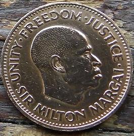 1/2Цента, 1964 года, Сьерра-Леоне,Монета, Монеты, 1/2 Half Cent1964, Sierra Leone, Fauna, Fish,Фауна, Рыба на монете, Milton Margai,Милтон Маргаина монете.