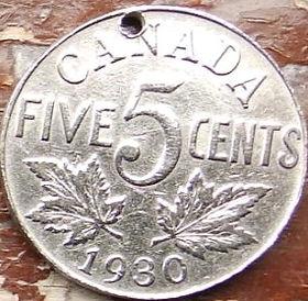 5 Центов, 1930 года,Канада, Монета, Монеты, 5 Five Cents 1930, Canada,Флора, Кленове листя,Flora, Maple leaves, Флора, Кленовые листьяна монете, КорольGeorgivs V, Георг V на монете.