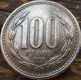 100 Песо,1984 года, Чили, Монета, Монеты, 100Pesos 1984, Republica deChile, Flora, Флора,Рослинний орнамент,Растительный орнамент, Floralornamentна монете,Coat of arms of Chile,Герб Чилина монете.