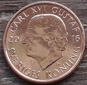 1 Крона, 2016 года, Швеция, Монета, Монеты, 1 Krona2016, Sverige, Sweden,Crown,Коронана монете,КорольКарлXVI Густавна монете.