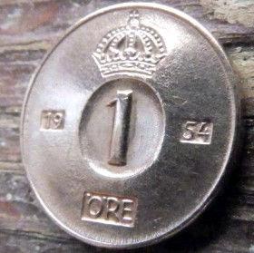 1 Эре, 1954 года, Швеция, Монета, Монеты, 1 Ore 1954, Sverige, Sweden,Crown,Корона на монете.