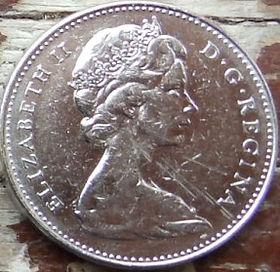 5 Центов, 1965 года,Канада, Монета, Монеты, 5 Cents 1965, Canada,Fauna, Beaver, Фауна, Боберна монете, Королева Elizabeth II, Елизавета IIна монете, Второй портрет королевы.