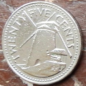25 Центов, 1973 года, Барбадос, Монета, Монеты, 25 Twenty Five Cents 1973, Barbados,Млин, Mill,Мельница на монете, Coat of arms ofBarbados, Герб Барбадосуна монете.