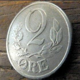 2 Эре, 1941 года, Дания, Монета, Монеты, 2 Ore 1941, Danmark,Рослинний орнамент,растительный орнамент,floral ornament, Crown,Корона,Monogram, ВензельКороляКристиана X на монете.